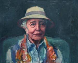 Elisabeth in a Hat (Elisabeth Cummings), Oil on Canvas, 55x70cm, 2018
