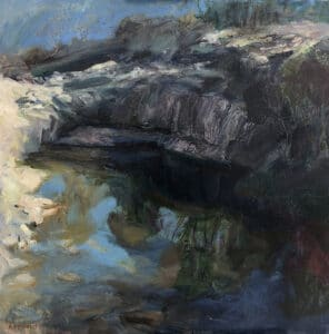 Rocky Ledge, Whiskers Creek, Oil on Canvas, 80x80cm, 2018