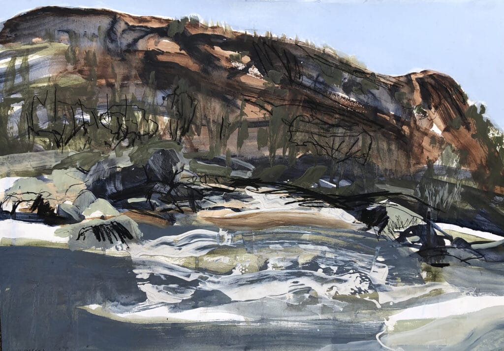 Snowy River, Mixed Media on Paper, 65 x 80cm, 2021