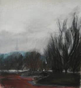 Tower, charcoal, conte, pastel on paper,  40x30cm, 2007